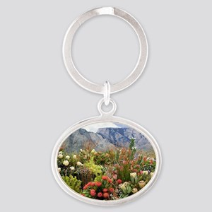 South African flower display in bloo Oval Keychain