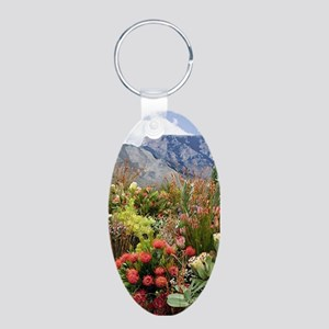 South African flower display in bl Keychains