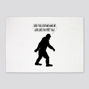 Bigfoot Silhoutte With Speech Bubbl 5'x7'Area Rug