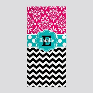 Pink teal Damask Chevron Personalized Beach Towel