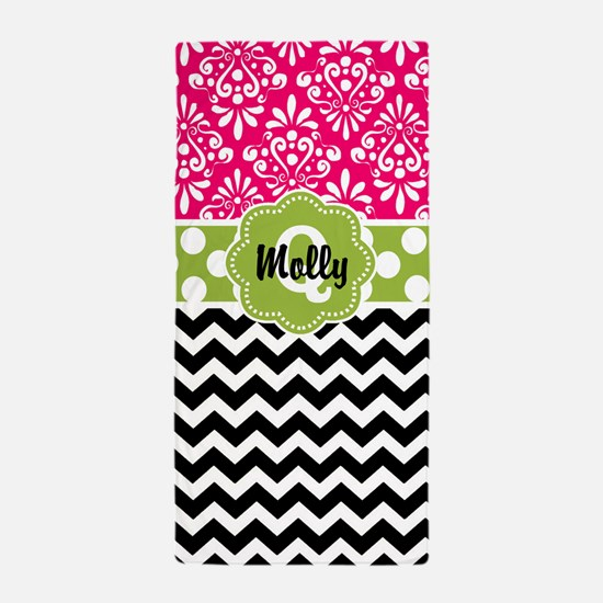 Pink Green Black Damask Chevron Beach Towel