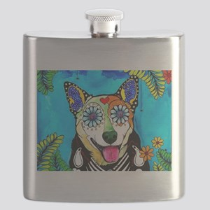 Reyna the Heeler Flask