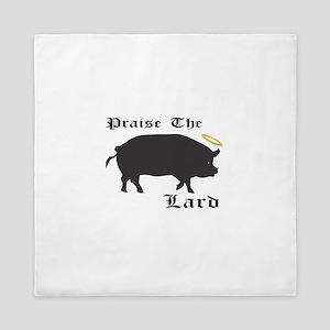 Praise the Lard funny bacon pig fat Queen Duvet