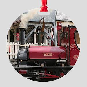 Red Steam train engine locomotive, Round Ornament