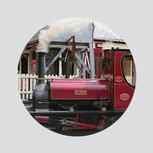 Red Steam train engine locomotive Ornament (Round)