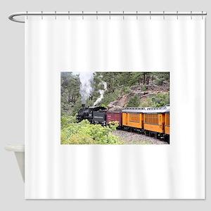 Steam train engine, Colorado, USA, Shower Curtain
