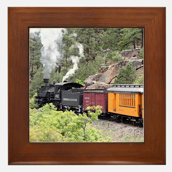 Steam train engine, Colorado, USA, 9 Framed Tile
