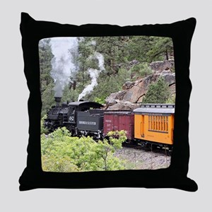 Steam train engine, Colorado, USA, 9 Throw Pillow