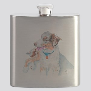 Matrix the Australian Shepherd Flask