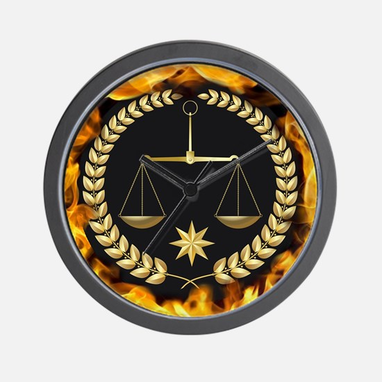 Flaming Justice Wall Clock