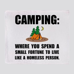 Camping Homeless Throw Blanket