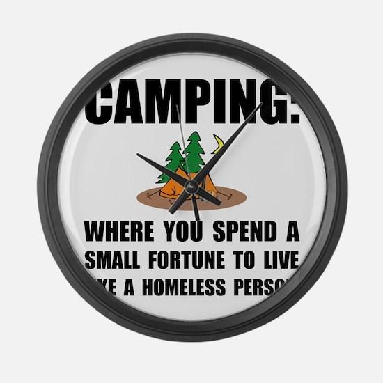 Camping Homeless Large Wall Clock