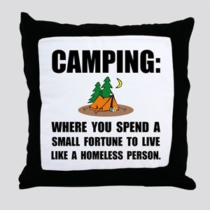 Camping Homeless Throw Pillow