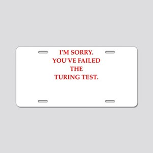 turing test Aluminum License Plate