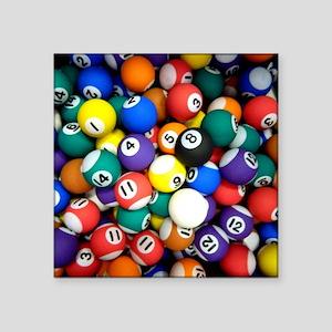 "Pool Room Clock Square Sticker 3"" x 3"""