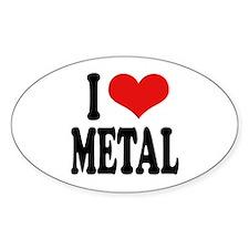 I Love Metal Oval Sticker