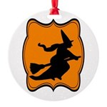 Black and Orange Halloween Witch Ornament