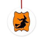 Black and Orange Halloween Witch Ornament (Round)