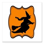 Black and Orange Halloween Witch Square Car Magnet