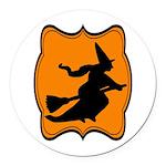 Black and Orange Halloween Witch Round Car Magnet