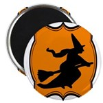 Black and Orange Halloween Witch Magnets