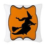 Black and Orange Halloween Witch Woven Throw Pillo