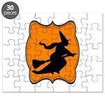 Black and Orange Halloween Witch Puzzle
