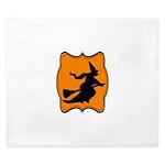 Black and Orange Halloween Witch King Duvet