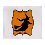 Black and Orange Halloween Witch Throw Blanket