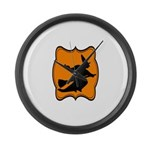 Black and Orange Halloween Witch Large Wall Clock