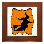 Black and Orange Halloween Witch Framed Tile