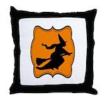 Black and Orange Halloween Witch Throw Pillow