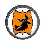 Black and Orange Halloween Witch Wall Clock