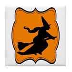 Black and Orange Halloween Witch Tile Coaster