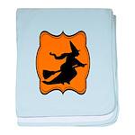 Black and Orange Halloween Witch baby blanket