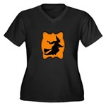 Black and Orange Halloween Witch Plus Size T-Shirt