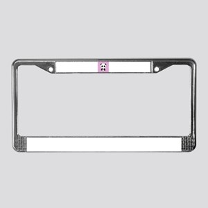 Panda on Pink Teal Stripes License Plate Frame