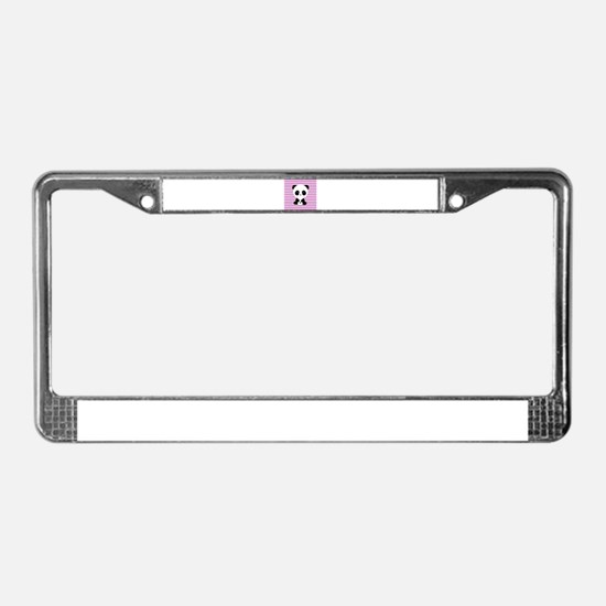 Panda on Pink Teal Stripes License Plate Frame