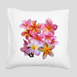 Pink Plumerias Square Canvas Pillow