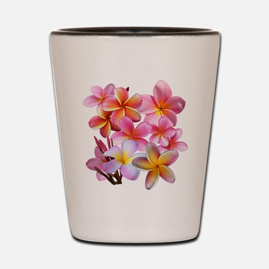 Pink Plumerias Shot Glass