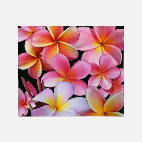 Pink Plumerias Throw Blanket