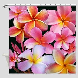 Pink Plumerias Shower Curtain