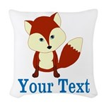 Personalizable Red Fox Woven Throw Pillow
