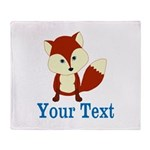 Personalizable Red Fox Throw Blanket