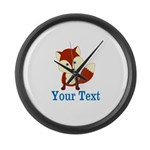 Personalizable Red Fox Large Wall Clock
