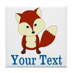 Personalizable Red Fox Tile Coaster