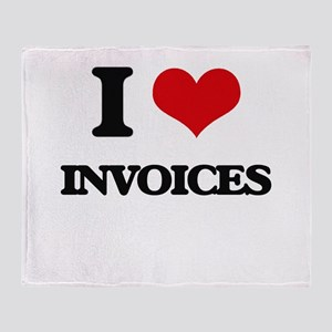 I Love Invoices Throw Blanket