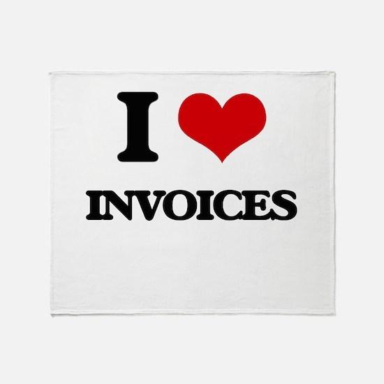 I Love Invoices Throw Blanket