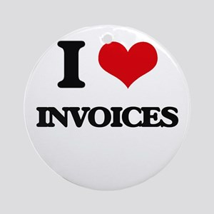 I Love Invoices Ornament (Round)