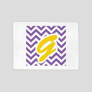 Purple Chevron - Gold G 5'x7'Area Rug